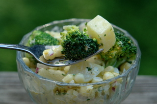 Corn, potato and broccoli salad