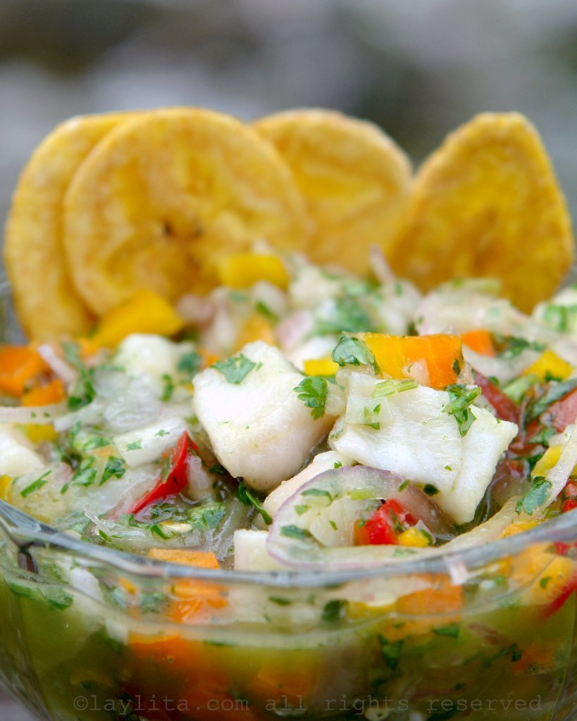 Ecuadorian fish ceviche or cebiche with plantain chips