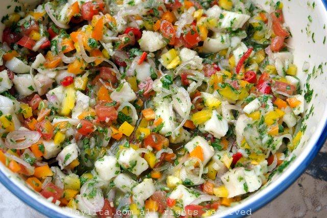 Fish ceviche or ceviche de pescado preparation