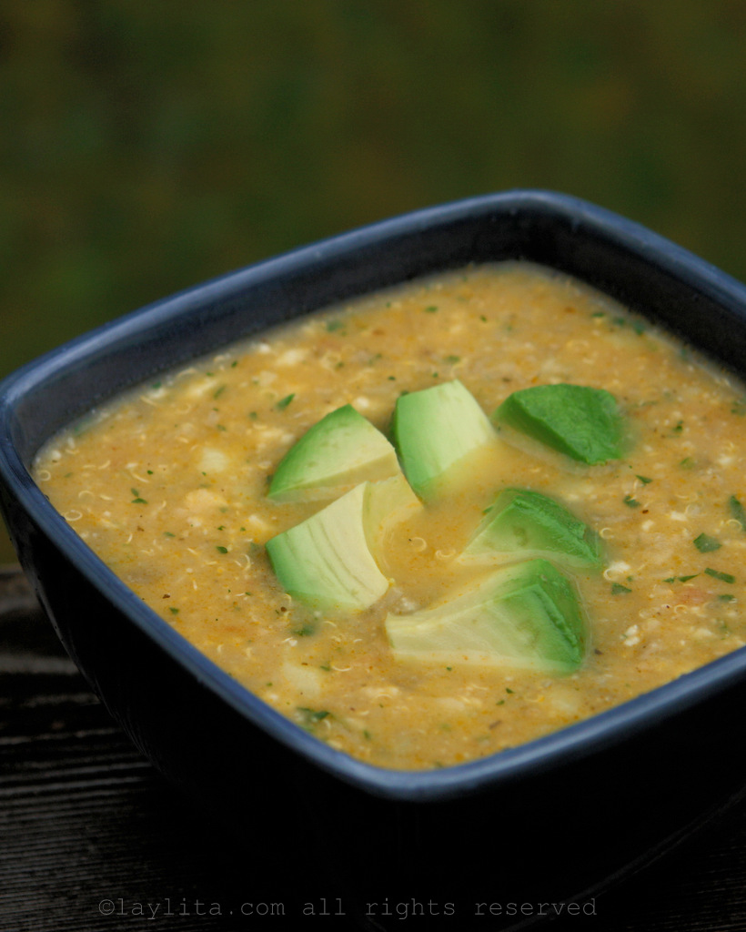 Quinoa, potato and cheese soup