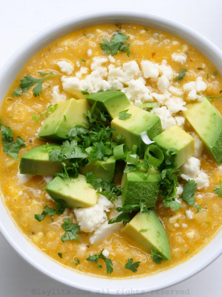 Quinoa soup with cheese and avocado