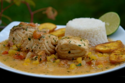 Pescado encocado or fish in coconut sauce