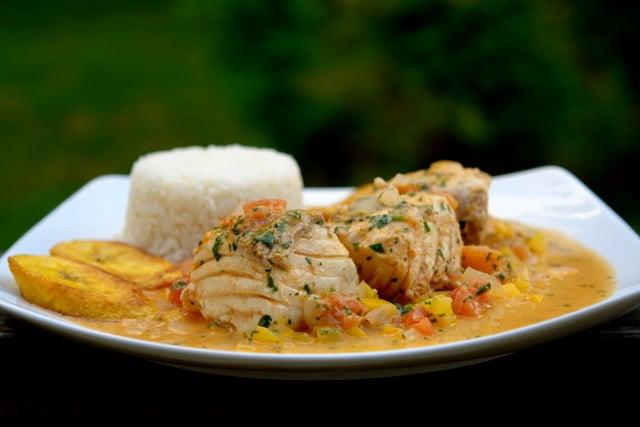Pescado encocado or fish with coconut sauce
