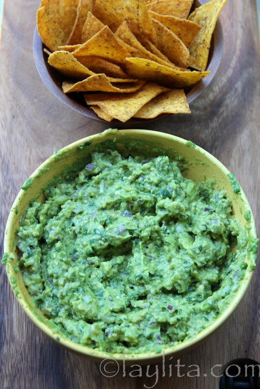 Homemade guacamole with chips