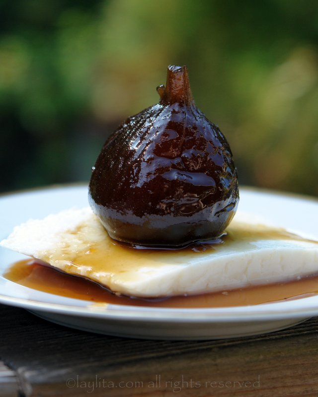 Spiced fig preserves in panela syrup with queso fresco