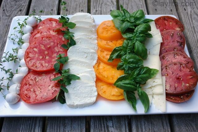 Tomato mozarella salad platter