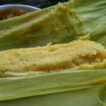Humitas or steamed fresh corn cakes