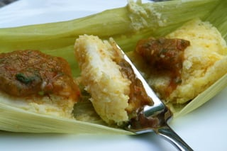 Humitas with aji sauce