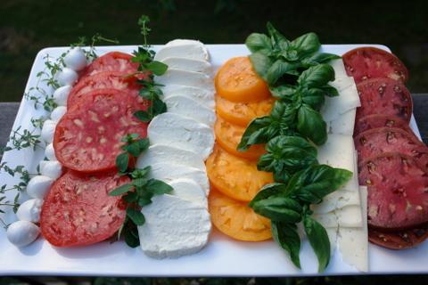 Tomato appetizer platter or tomato salad platter