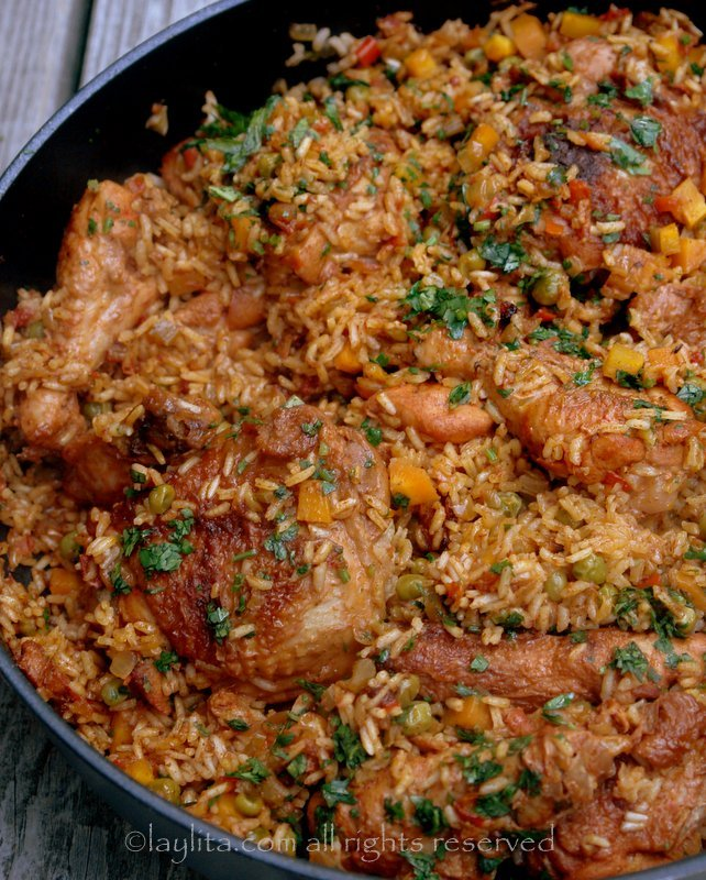 Arroz con pollo or rice with chicken recipe