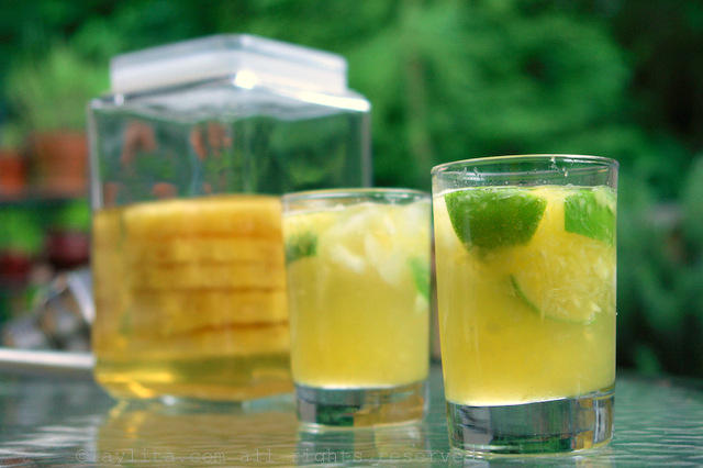 Fruity pineapple caipirinha cocktail recipe