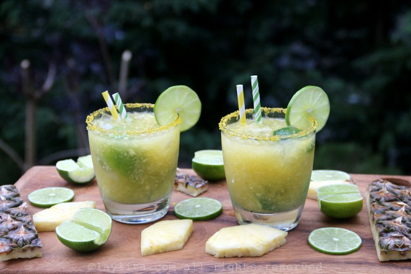 Pineapple caipirinhas