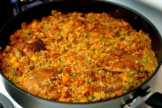 Homemade arroz con pollo