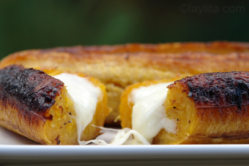 Platanos asados con queso or baked ripe plantains with cheese