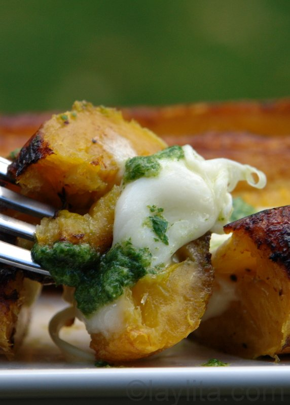 Baked ripe plantains with cheese and aji criollo