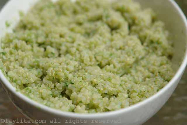 Quinoa with tomatillo cilantro sauce