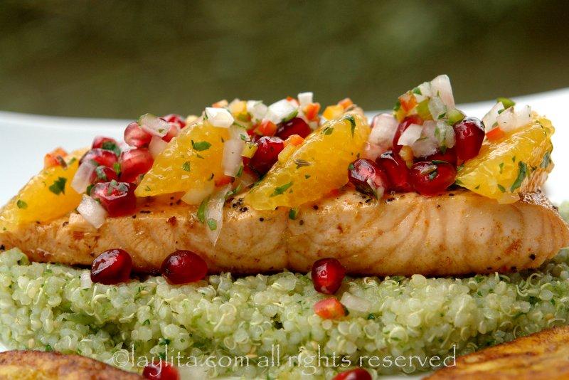 Salmon with pomegranate and orange salsa recipe - Laylita's Recipes