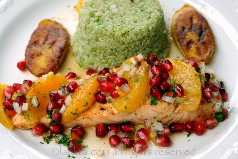 Salmon with pomegranate and orange salsa recipe