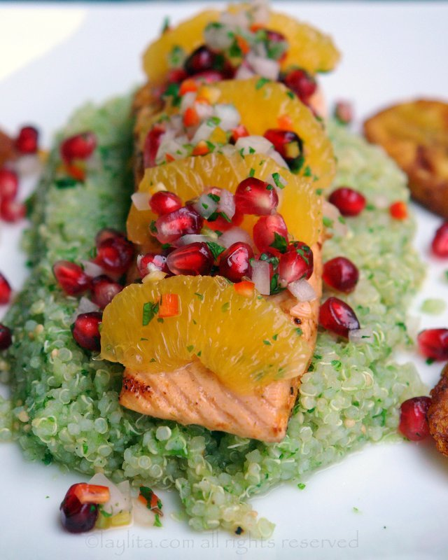 Seared salmon with pomegranate salsa