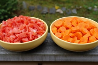 Tomatoes and carrots for the stew