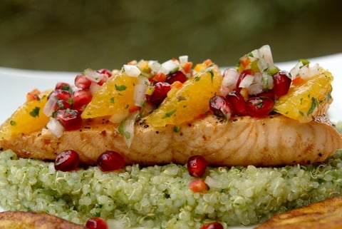 Pan seared salmon with pomegranate and orange salsa