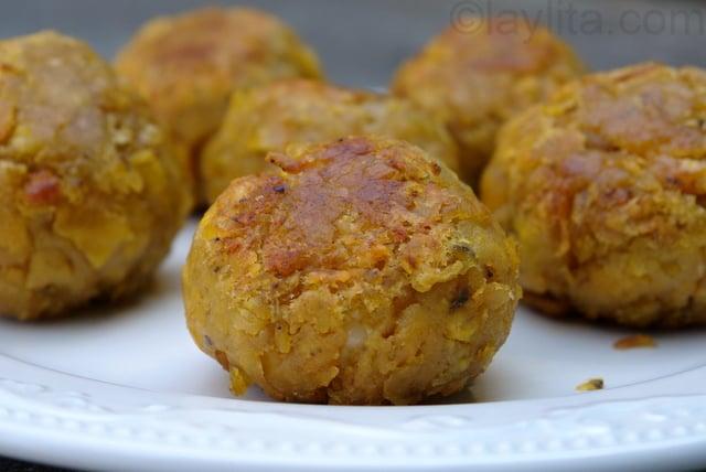 Bolon de verde or fried green plantain dumplings