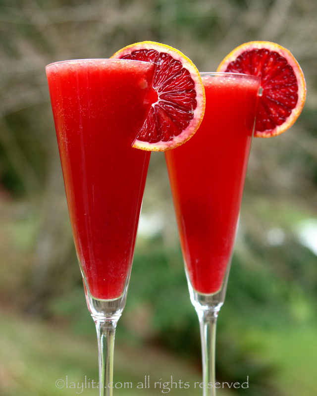 Bubbly blood orange cocktail