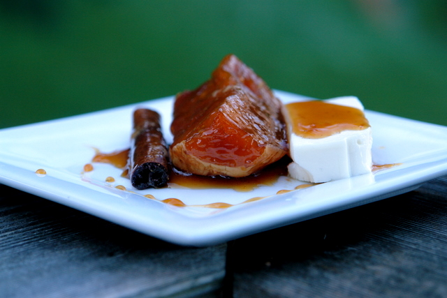 Dulce de zapallo or candied squash in panela syrup