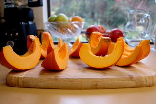 Pumpkin slices to caramelize in panela syrup