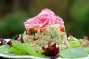 Quinoa salad with red pickled onions