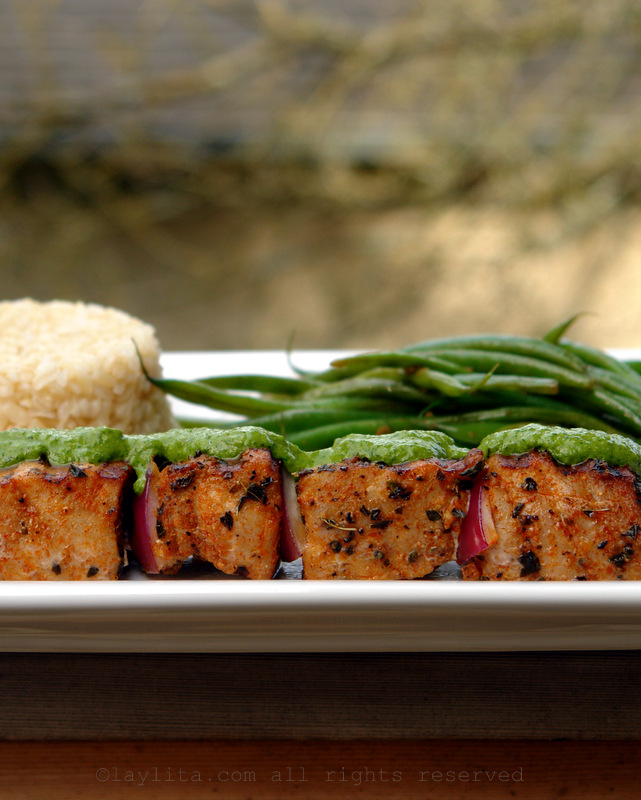 Grilled tuna skwewers with herb salsa verde
