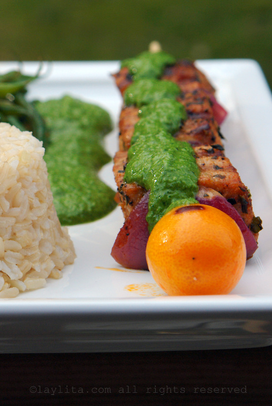 Tuna skewers with herb and anchovy salsa verde