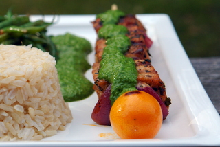 Homemade grilled tuna skewers with salsa verde
