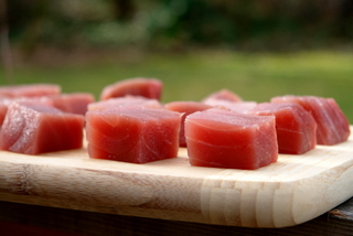 Cubed tuna for kebabs