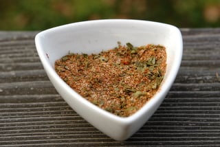 Seasoning mix with cumin, paprika, oregano, garlic, and lemon pepper