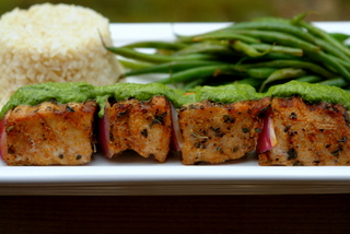 Grilled tuna skewers