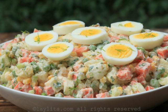 Ensalada rusa potato salad with hard boiled eggs
