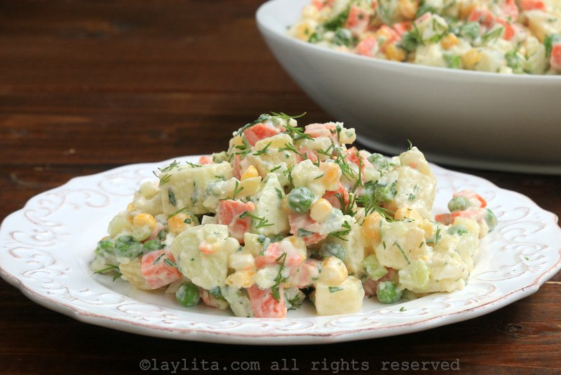 Ensalada rusa or Russian (South American) potato salad