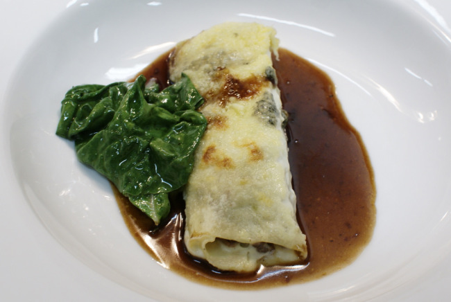 Braised oxtail cannelloni with blue cheese and chard