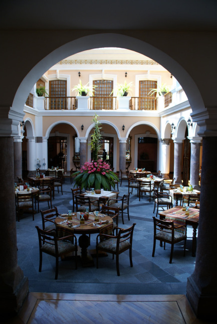 A restaraunt patio in the Centro Historico