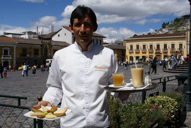 Julio showing off the traditional food