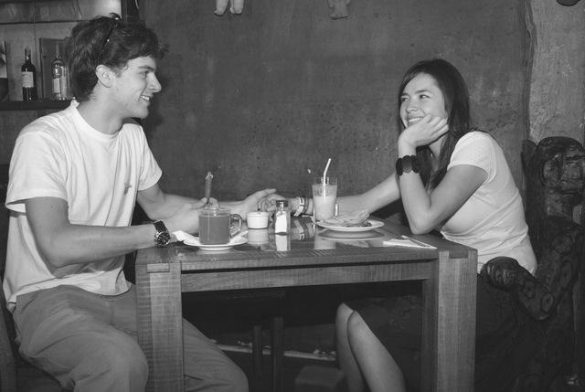 Matt and Olga during breakfast