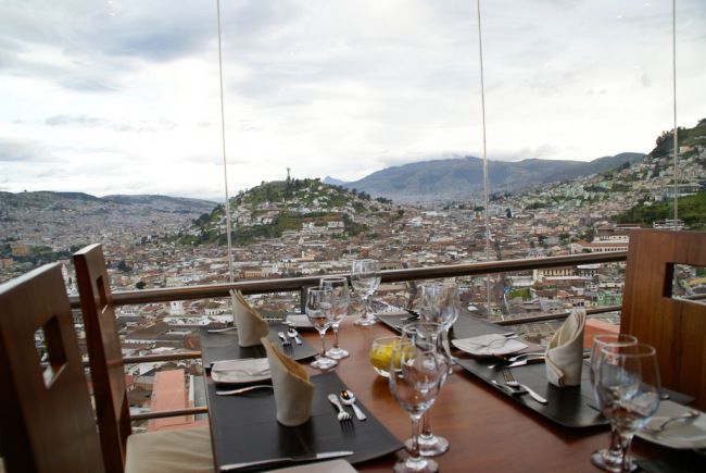 Table view of El Panecillo from Ventanal