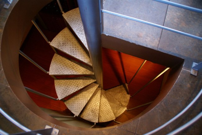 The stairway up to the restaurant