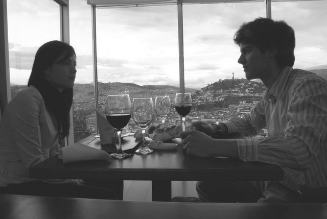 Enjoying a glass of wine and the amazing view