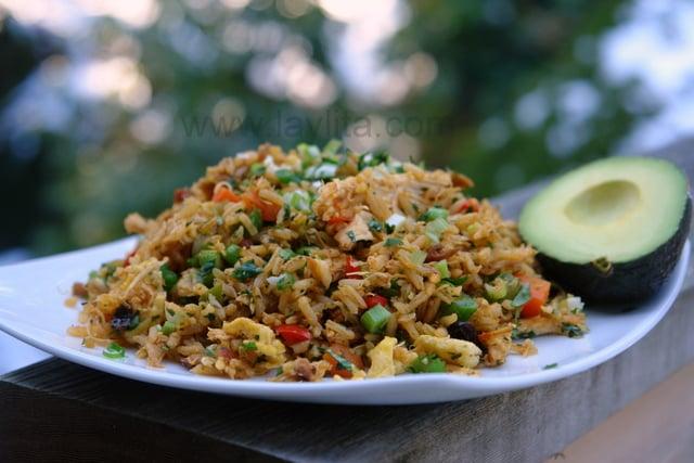 Chaulafan de pollo or Ecuadorian chicken fried rice