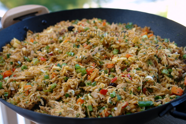 Chaulafan de pollo or Ecuadorian chicken fried rice