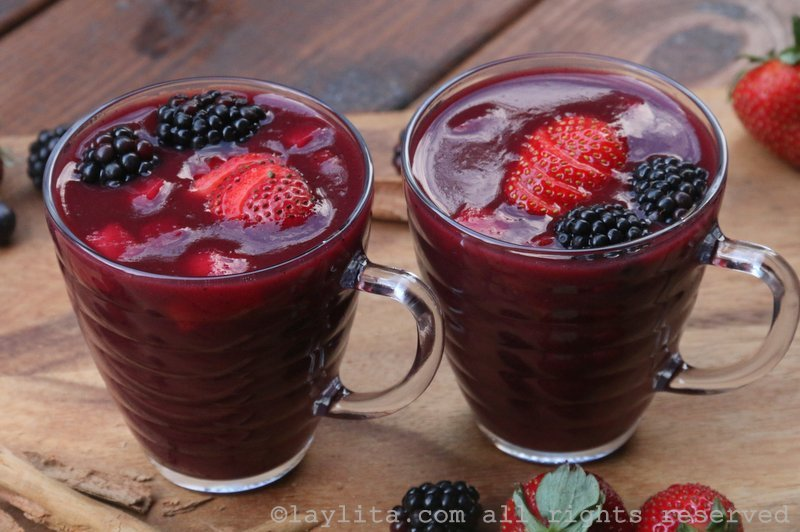 Colada morada or Ecuadorian spiced purple corn drink