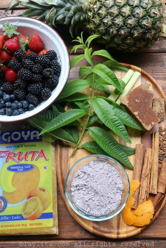 Ecuadorian colada morada ingredients
