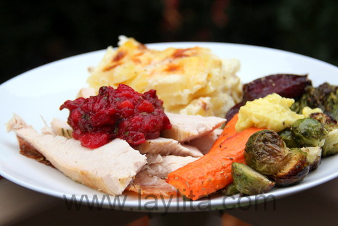 Turkey with cranberry sauce and side dishes